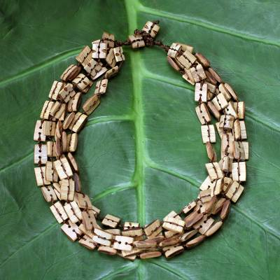 Bamboo multi-strand necklace, 'Sophisticated Earth' - Bamboo multi-strand necklace