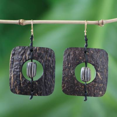 Coconut shell and terracotta dangle earrings, 'Medieval Nature' - Unique Coconut Shell Dangle Earrings