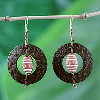 Coconut shell and terracotta dangle earrings, 'Medieval Hoops'