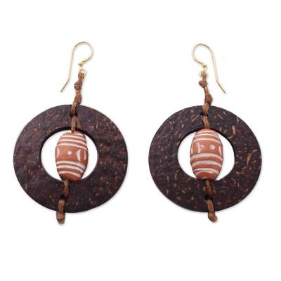 Coconut shell and terracotta dangle earrings, 'Medieval Hoops' - Handmade African Coconut Shell Dangle Earrings
