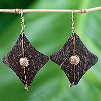 Coconut shell and terracotta dangle earrings, 'Medieval Diamonds'