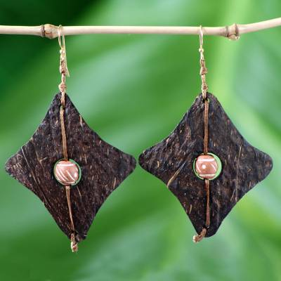 Coconut shell and terracotta dangle earrings, 'Medieval Diamonds' - Fair Trade Coconut Shell Dangle Earrings