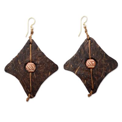 Coconut shell and terracotta dangle earrings, 'Medieval Diamonds' - Fair Trade Coconut Shell Dangle Earrings