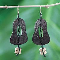 Coconut shell and bamboo dangle earrings, 'Medieval Bells' - Coconut Shell Dangle Earrings