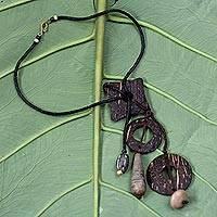 Coconut shell and soapstone Y-necklace, 'Eclectic' - Coconut shell and soapstone Y-necklace