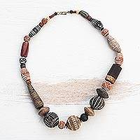 Cow bone and agate beaded necklace, 'Africa Medley' - Cow bone and agate beaded necklace
