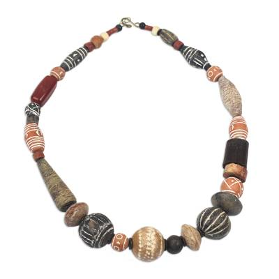Cow bone and agate beaded necklace
