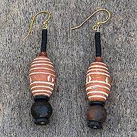 Terracotta and soapstone dangle earrings, 'African Aesthetic' - Terracotta and Soapstone Dangle Earrings