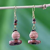 Terracotta and bauxite earrings, 'Nigerian Belles' - Handcrafted Ceramic Dangle Earrings