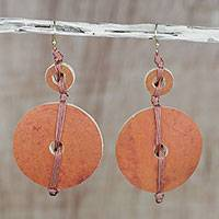 Dried calabash dangle earrings, 'Tropical Fun'