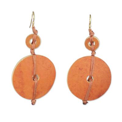 Dried calabash dangle earrings, 'Tropical Fun' - Dried Calabash Dangle Earrings