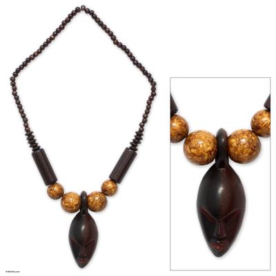Wood pendant necklace, 'Soul Mates' - African Wood Pendant Necklace