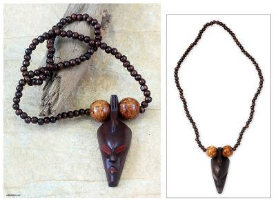 Wood pendant necklace, 'Woman of Substance' - Unique Wood Pendant Necklace
