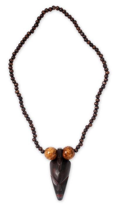 Wood pendant necklace, 'Woman of Substance' - Unique Wood Pendant Necklace