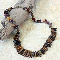 Tiger's eye and agate beaded necklace, 'Lovely Lady' - Beaded Agate and Tiger's Eye Necklace