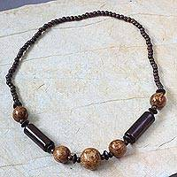 Wood long beaded necklace, 'Beauty' - Wood long beaded necklace