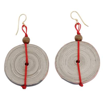 Recycled paper dangle earrings, 'Hot Breakfast' - Hand Crafted Recycled Paper Dangle Earrings