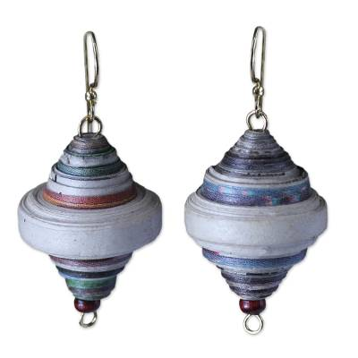 African Recycled Paper Dangle Earrings