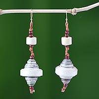 Recycled paper dangle earrings, 'Continuity'