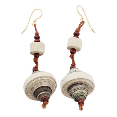 Recycled paper dangle earrings