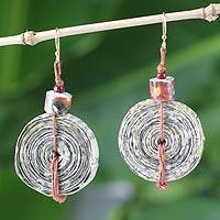 Recycled paper dangle earrings, 'News Hour' - Recycled Paper Dangle Earrings from Africa