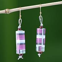 Recycled paper dangle earrings, 'Royalty' - Recycled Paper Dangle Earrings