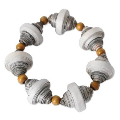 Handcrafted Modern Recycled Paper Beaded Bracelet