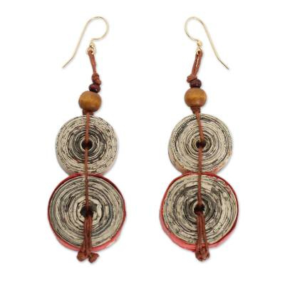 Hand Made Recycled Paper Dangle Earrings
