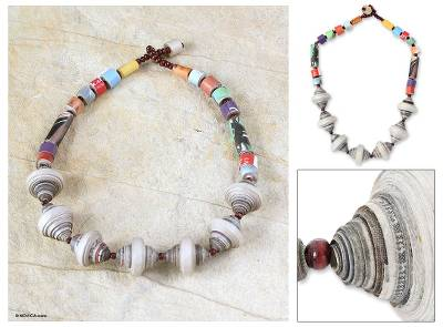 Recycled paper pendant necklace, 'Easy Spirit' - Handmade Recycled Paper Beaded Necklace