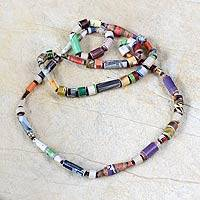 Recycled paper long necklace, 'Sweet Mom' - Unique Recycled Paper Beaded Necklace