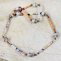Recycled paper long necklace, 'Joy' - Recycled paper long necklace