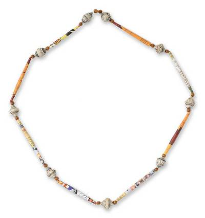 Recycled paper long necklace