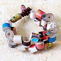 Recycled paper beaded bracelet, 'Crossroads' - Recycled Paper Beaded Bracelet