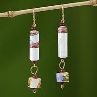 Recycled paper dangle earrings, 'Friendship' - Handcrafted Recycled Paper Dangle Earrings