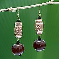 Terracotta beaded earrings, 'Agudie I' - Terracotta beaded earrings