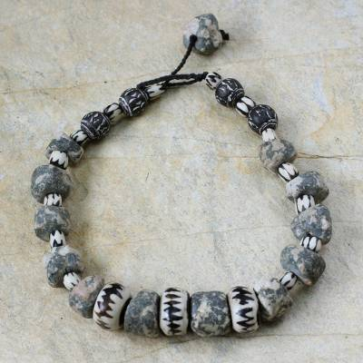 Bone beaded necklace, 'Obour Ba' - Bone beaded necklace