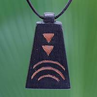 Teakwood pendant necklace, 'To Egypt' - Teakwood pendant necklace