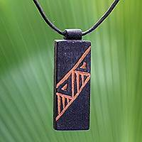 Men's teak wood pendant necklace, 'Kente Man' - Men's Hand Made Wood Pendant Necklace