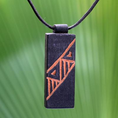 Men's teak wood pendant necklace, 'Kente Man' - Men's Hand Made Wood Pendant Necklace