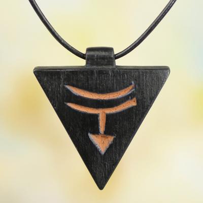Men's teakwood pendant necklace, 'Ashanti Soul' - Men's Unique Leather and Wood Pendant Necklace