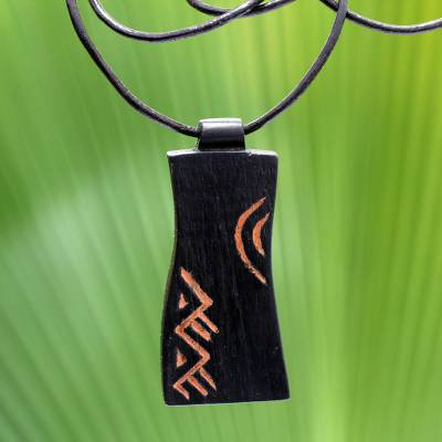 Teak wood pendant necklace, 'Talk' - African Teak Wood Pendant Necklace