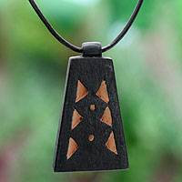 Men's teak wood pendant necklace, 'Between Pyramids' - Men's Hand Crafted Leather and Wood Pendant Necklace