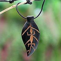 Men's teak wood pendant necklace, 'Flora and Fauna' - Men's Teakwood Pendant Necklace