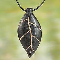 Teakwood pendant necklace, 'Plants Are Life' - Unique Teakwood Leaf Pendant Necklace