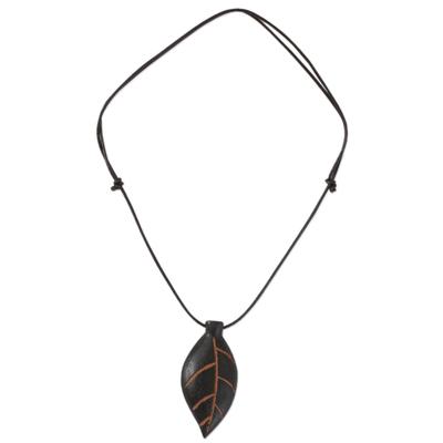 Unique Teakwood Leaf Pendant Necklace