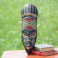 African wood mask, 'Bawa' - Handmade Wood Mask