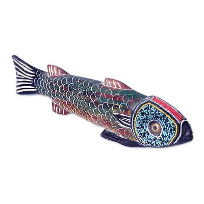 Wood sculpture, 'Amulie' - Unique Wood Fish Sculpture