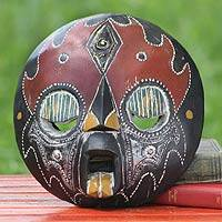 African wood mask, 'Merci' - African wood mask
