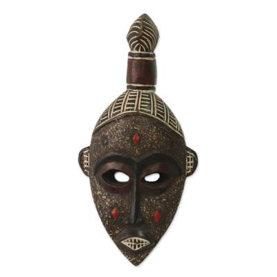 Ghanaian wood mask, 'Good Luck' - Unique African Wood Mask