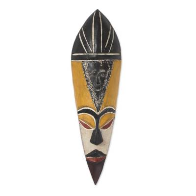Ghanaian wood mask, 'Gonja Protector from Evil' - Fair Trade Wood Mask
